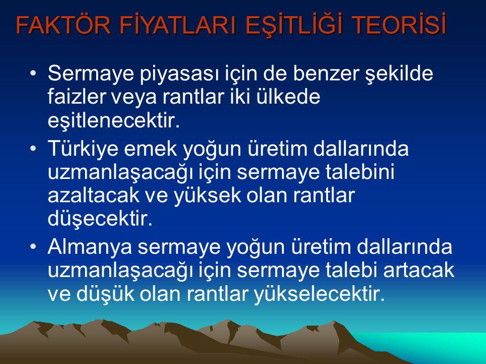 W M M T1T1 A1A1 w1w1 m1m1 W M M T2T2 A2A2 w2w2 m2m2 TÜRKİYE ALMANYA w3w3 w3w3 T3T3 T4T4 m3m3 m4m4 Başlangıçta, Almanya'da ücretler yüksek, Türkiye'de düşüktür.