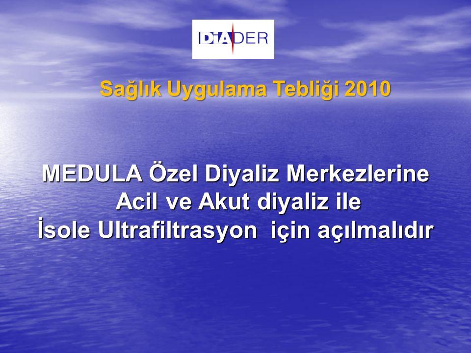 MEDULA Özel Diyaliz Merkezlerine Acil ve Akut diyaliz ile İsole Ultrafiltrasyon için açılmalıdır Sağlık Uygulama Tebliği 2010