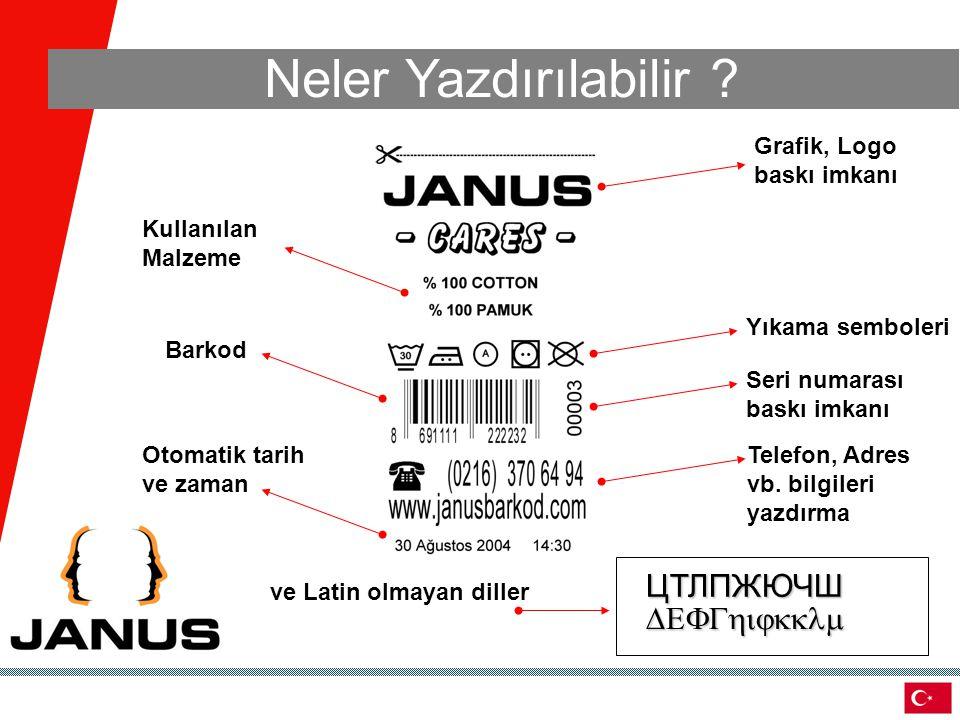 Neler Yazdırılabilir ? Grafik, Logo baskı imkanı Yıkama semboleri Seri numarası baskı imkanı Telefon, Adres vb. bilgileri yazdırma Kullanılan Malzeme