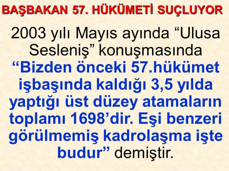 """2003 yılı Mayıs ayında """"Ulusa Sesleniş"""" konuşmasında """"Bizden önceki 57.hükümet işbaşında kaldığı 3,5 yılda yaptığı üst düzey atamaların toplamı 1698'd"""