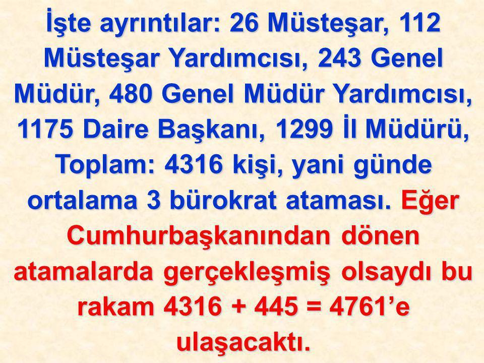 İşte ayrıntılar: 26 Müsteşar, 112 Müsteşar Yardımcısı, 243 Genel Müdür, 480 Genel Müdür Yardımcısı, 1175 Daire Başkanı, 1299 İl Müdürü, Toplam: 4316 k