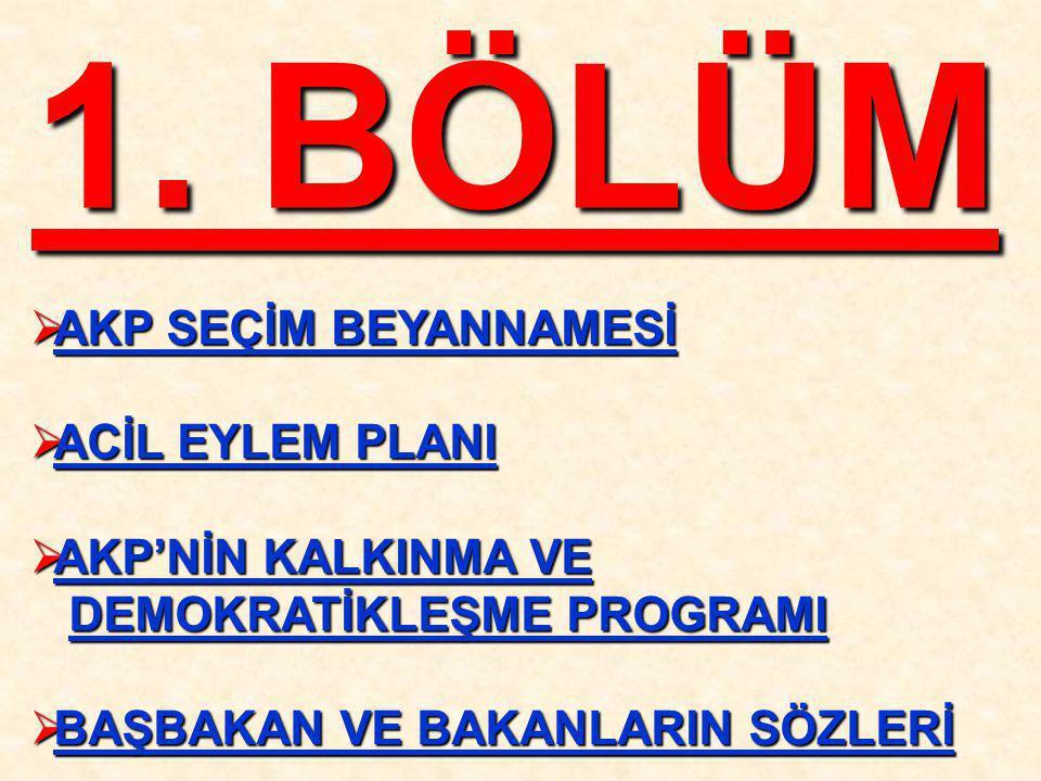 1. BÖLÜM  AKP SEÇİM BEYANNAMESİ  ACİL EYLEM PLANI  AKP'NİN KALKINMA VE DEMOKRATİKLEŞME PROGRAMI DEMOKRATİKLEŞME PROGRAMI  BAŞBAKAN VE BAKANLARIN S