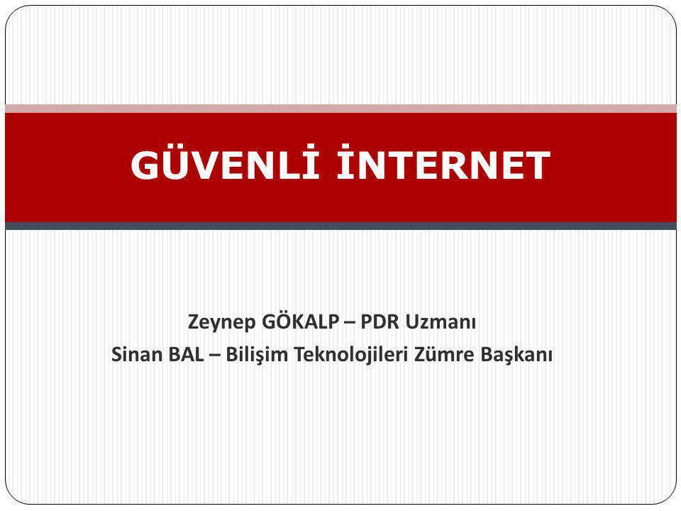 Zeynep GÖKALP – PDR Uzmanı Sinan BAL – Bilişim Teknolojileri Zümre Başkanı GÜVENLİ İNTERNET