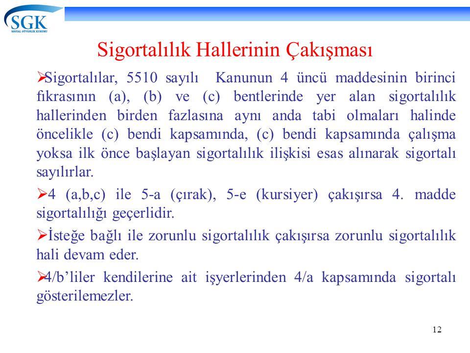 12 Sigortalılık Hallerinin Çakışması  Sigortalılar, 5510 sayılı Kanunun 4 üncü maddesinin birinci fıkrasının (a), (b) ve (c) bentlerinde yer alan sig