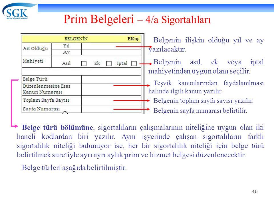 46 Prim Belgeleri – 4/a Sigortalıları Belgenin ilişkin olduğu yıl ve ay yazılacaktır. Belgenin asıl, ek veya iptal mahiyetinden uygun olanı seçilir. T