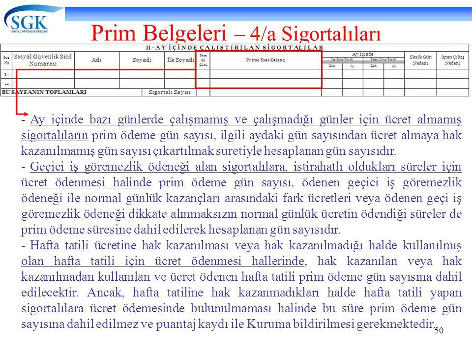 50 Prim Belgeleri – 4/a Sigortalıları -Ay içinde bazı günlerde çalışmamış ve çalışmadığı günler için ücret almamış sigortalıların prim ödeme gün sayıs