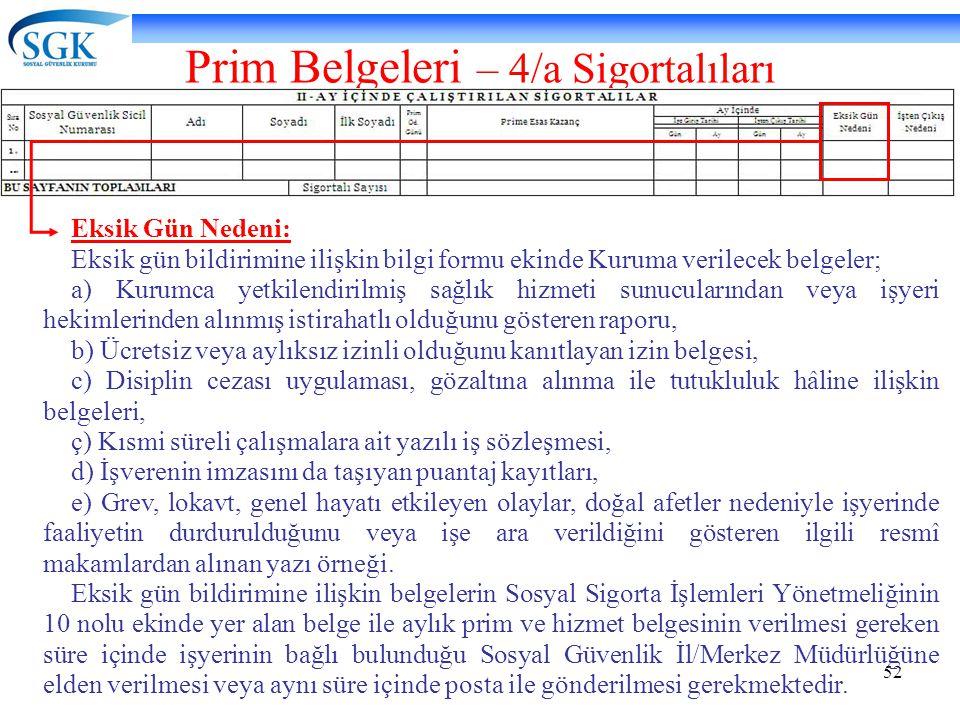 52 Prim Belgeleri – 4/a Sigortalıları Eksik Gün Nedeni: Eksik gün bildirimine ilişkin bilgi formu ekinde Kuruma verilecek belgeler; a) Kurumca yetkile