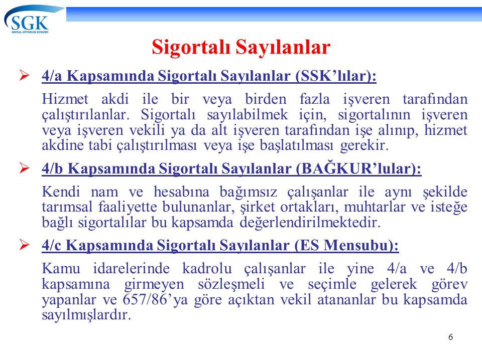 6 Sigortalı Sayılanlar  4/a Kapsamında Sigortalı Sayılanlar (SSK'lılar): Hizmet akdi ile bir veya birden fazla işveren tarafından çalıştırılanlar. Si