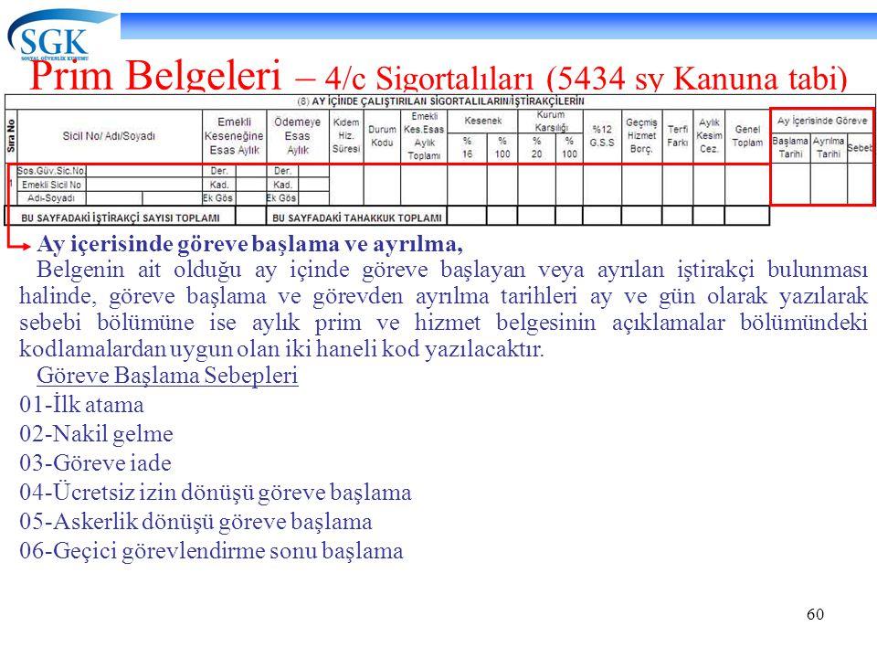 60 Prim Belgeleri – 4/c Sigortalıları (5434 sy Kanuna tabi) Ay içerisinde göreve başlama ve ayrılma, Belgenin ait olduğu ay içinde göreve başlayan vey