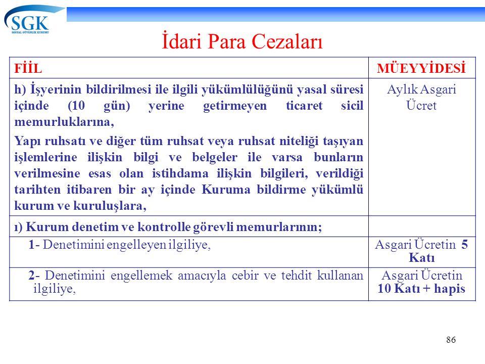 86 İdari Para Cezaları FİİLMÜEYYİDESİ h) İşyerinin bildirilmesi ile ilgili yükümlülüğünü yasal süresi içinde (10 gün) yerine getirmeyen ticaret sicil