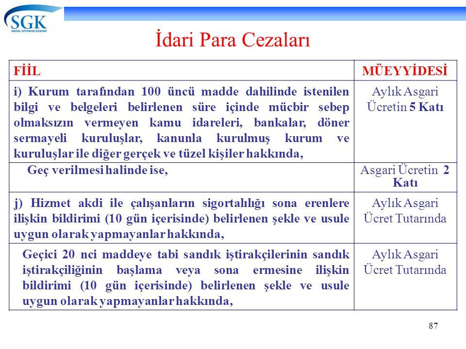 87 İdari Para Cezaları FİİLMÜEYYİDESİ i) Kurum tarafından 100 üncü madde dahilinde istenilen bilgi ve belgeleri belirlenen süre içinde mücbir sebep ol