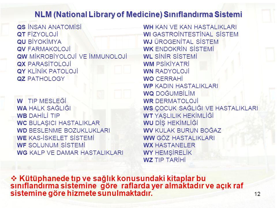12 NLM (National Library of Medicine) Sınıflandırma Sistemi QS İNSAN ANATOMİSİ QT FİZYOLOJİ QU BİYOKİMYA QV FARMAKOLOJİ QW MİKROBİYOLOJİ VE İMMUNOLOJİ