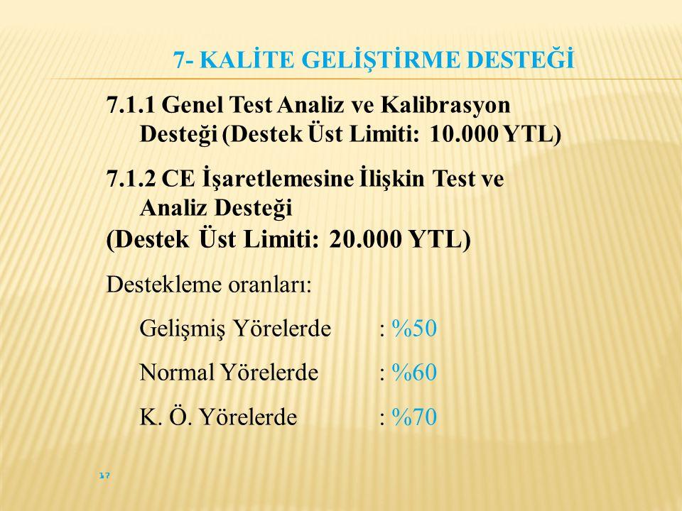 17 7- KALİTE GELİŞTİRME DESTEĞİ 7.1.1 Genel Test Analiz ve Kalibrasyon Desteği (Destek Üst Limiti: 10.000 YTL) 7.1.2 CE İşaretlemesine İlişkin Test ve