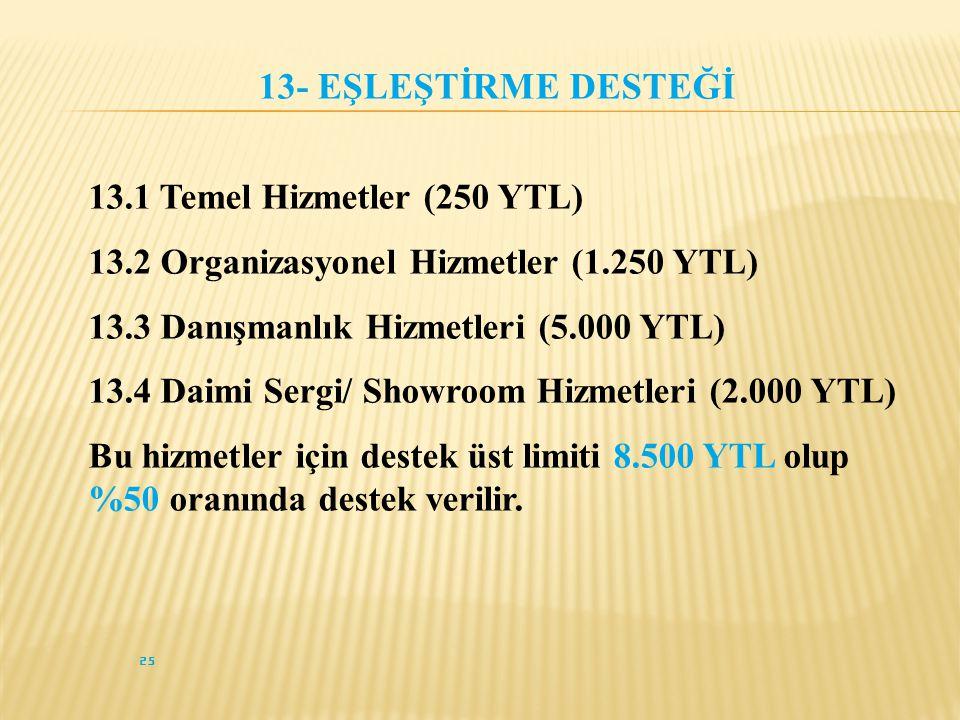 25 13- EŞLEŞTİRME DESTEĞİ 13.1 Temel Hizmetler (250 YTL) 13.2 Organizasyonel Hizmetler (1.250 YTL) 13.3 Danışmanlık Hizmetleri (5.000 YTL) 13.4 Daimi Sergi/ Showroom Hizmetleri (2.000 YTL) Bu hizmetler için destek üst limiti 8.500 YTL olup %50 oranında destek verilir.