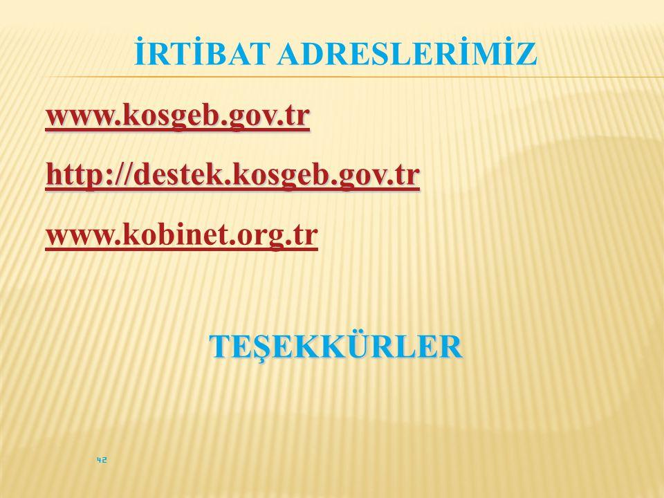 İRTİBAT ADRESLERİMİZ www.kosgeb.gov.tr http://destek.kosgeb.gov.tr www.kobinet.org.trTEŞEKKÜRLER 42