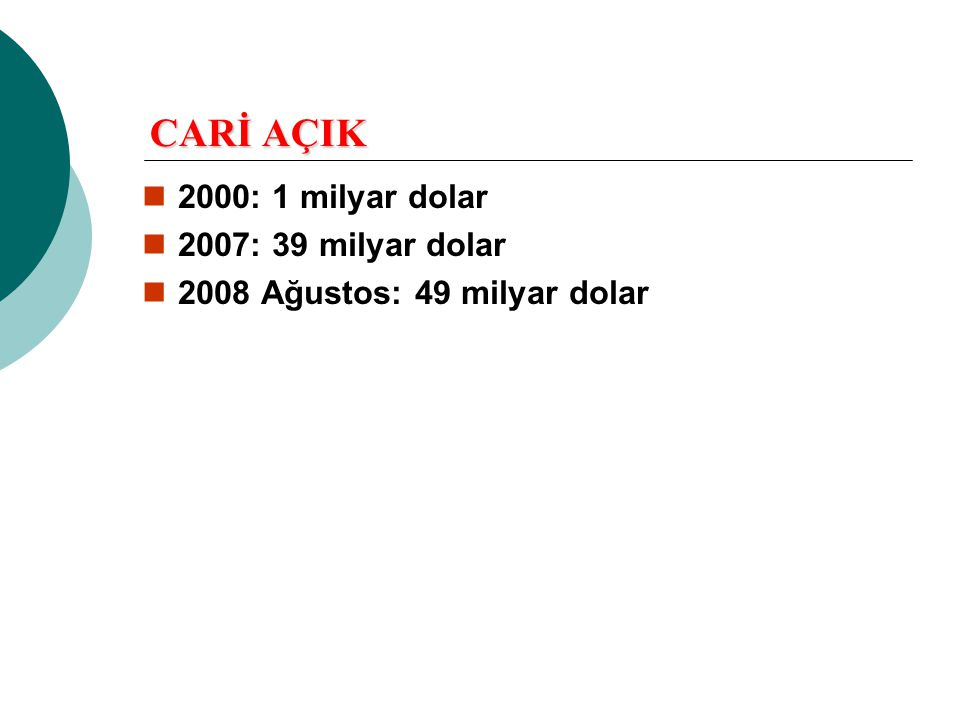 CARİ AÇIK  2000: 1 milyar dolar  2007: 39 milyar dolar  2008 Ağustos: 49 milyar dolar