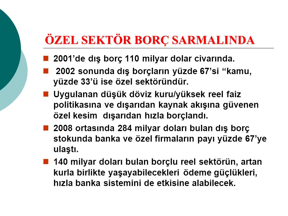 """ÖZEL SEKTÖR BORÇ SARMALINDA  2001'de dış borç 110 milyar dolar civarında.  2002 sonunda dış borçların yüzde 67'si """"kamu, yüzde 33'ü ise özel sektörü"""