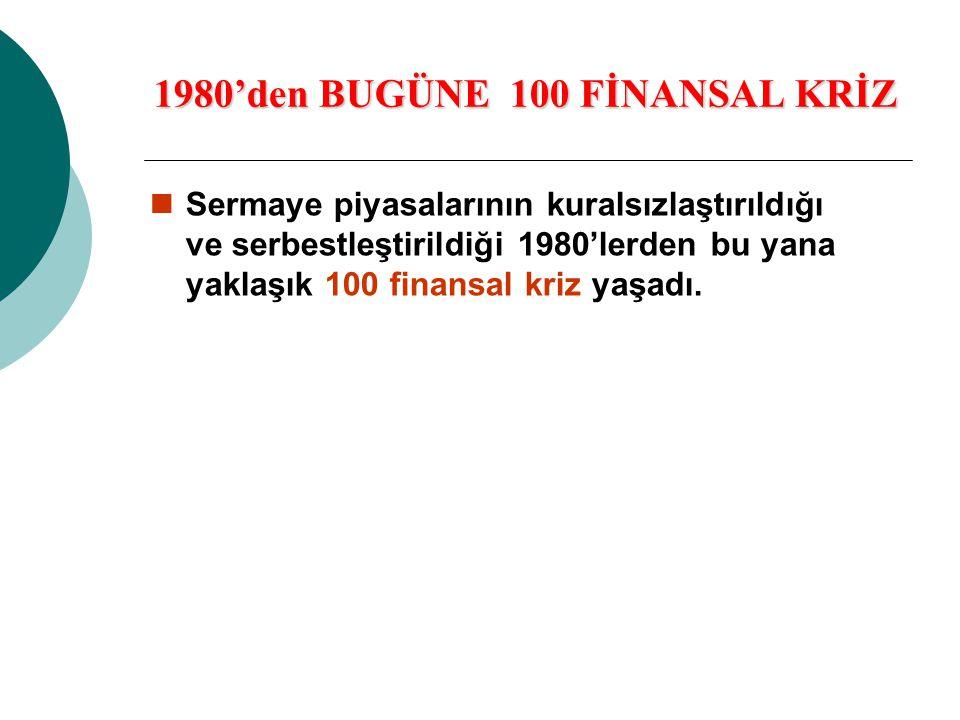 1980'den BUGÜNE 100 FİNANSAL KRİZ  Sermaye piyasalarının kuralsızlaştırıldığı ve serbestleştirildiği 1980'lerden bu yana yaklaşık 100 finansal kriz y