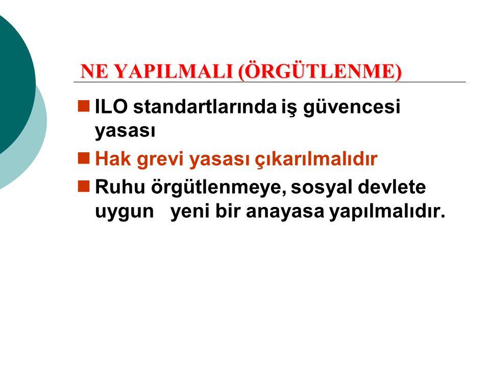 NE YAPILMALI (ÖRGÜTLENME)  ILO standartlarında iş güvencesi yasası  Hak grevi yasası çıkarılmalıdır  Ruhu örgütlenmeye, sosyal devlete uygun yeni b