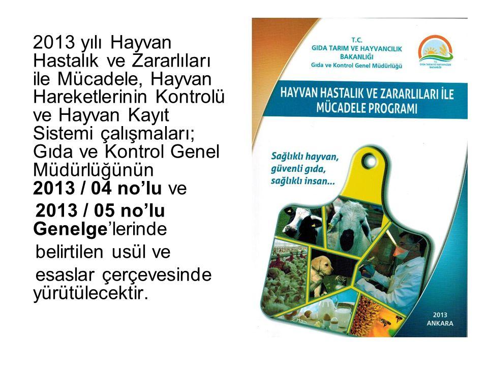 2013 yılı Hayvan Hastalık ve Zararlıları ile Mücadele, Hayvan Hareketlerinin Kontrolü ve Hayvan Kayıt Sistemi çalışmaları; Gıda ve Kontrol Genel Müdür