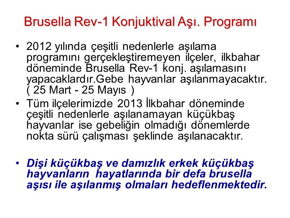 Brusella Rev-1 Konjuktival Aşı. Programı •2012 yılında çeşitli nedenlerle aşılama programını gerçekleştiremeyen ilçeler, ilkbahar döneminde Brusella R