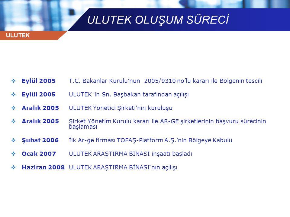 ULUTEK  Eylül 2005T.C. Bakanlar Kurulu'nun 2005/9310 no'lu kararı ile Bölgenin tescili  Eylül 2005ULUTEK 'in Sn. Başbakan tarafından açılışı  Aralı