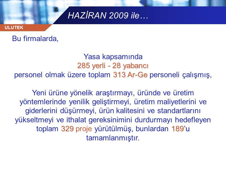 ULUTEK HAZİRAN 2009 ile… Bu firmalarda, Yasa kapsamında 285 yerli - 28 yabancı 313 Ar-Ge personel olmak üzere toplam 313 Ar-Ge personeli çalışmış, 329
