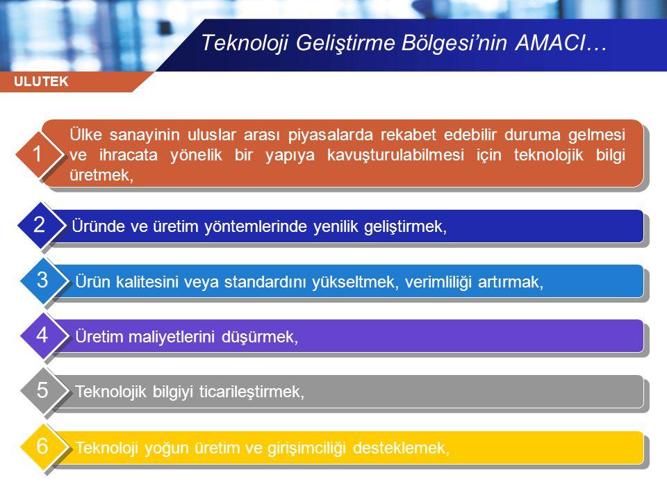 ULUTEK Teknoloji yoğun üretim ve girişimciliği desteklemek, 7 Küçük ve orta ölçekli işletmelerin yeni ve ileri teknolojilere uyumunu sağlamak, 8 Bilim ve Teknoloji Yüksek Kurulunun kararları da dikkate alınarak teknoloji yoğun alanlarda yatırım olanakları yaratmak, 9 Araştırmacı ve vasıflı kişilere iş imkânı yaratmak, 10 Teknoloji transferine yardımcı olmak ve yüksek/ileri teknoloji sağlayacak yabancı sermayenin ülkeye girişini hızlandıracak teknolojik alt yapıyı sağlamaktır.