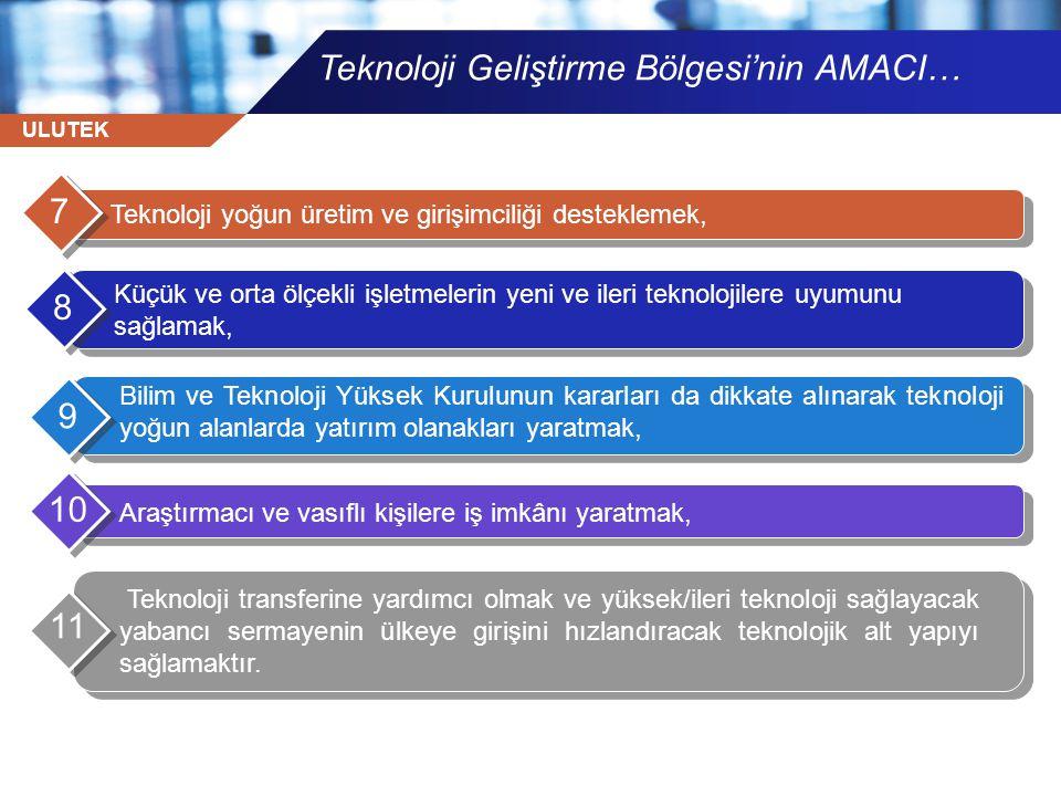 ULUTEK Teknoloji Geliştirme Bölgesi MİSYON-VİZYON •Ülkemizde, Üniversite-Sanayi işbirliğini en üst düzeye çıkararak, •İleri teknoloji kullanan veya üreten şirketlerin oluşumunu ve büyümesini desteklemek, mevcut kaynaklarını daha verimli kullanmalarını sağlamak veya yeni kaynak yaratılması amacıyla yenilikçi ileri teknoloji ve yazılım geliştirme alanlarında faaliyet gösterecek şirketlere AR-GE çalışmalarını yürütebilecekleri ortam ve destek sağlamak, •İleri teknoloji alanında çalışan yerli ve uluslararası şirketleri bir araya getirerek aralarında ve üniversitelerle sinerji yaratmalarını sağlayan mekanizmalar kurmak, •Üniversitelerdeki akademik birikimin ve araştırma sonuçlarının ekonomik değere dönüştürülmesini sağlamak, •Ülkenin ekonomik ve teknolojik düzeyinin yükseltilmesine ve böylece ülkenin uluslararası rekabet gücünü artırılmasına katkıda bulunmak, •İleri teknoloji üretme potansiyeli olan yeni şirketlerin kurulmasını ve mevcut küçük şirketlerin büyümesini teşvik etmek.