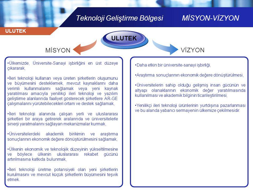 ULUTEK Teknoloji Geliştirme Bölgesi MİSYON-VİZYON •Ülkemizde, Üniversite-Sanayi işbirliğini en üst düzeye çıkararak, •İleri teknoloji kullanan veya ür
