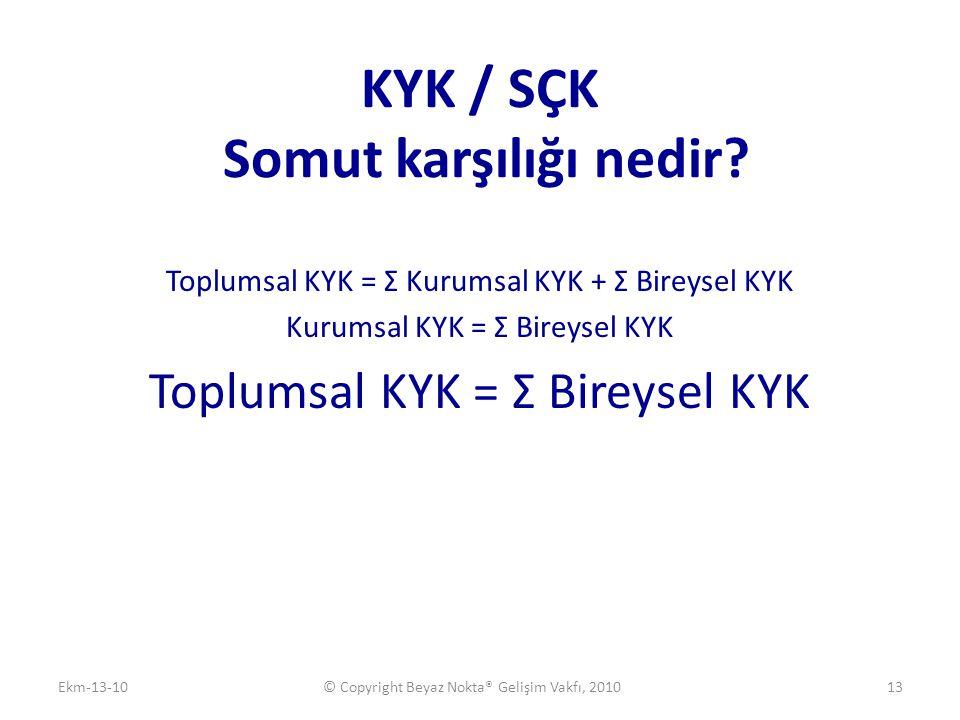 KYK / SÇK Somut karşılığı nedir? Toplumsal KYK = Σ Kurumsal KYK + Σ Bireysel KYK Kurumsal KYK = Σ Bireysel KYK Toplumsal KYK = Σ Bireysel KYK Ekm-13-1