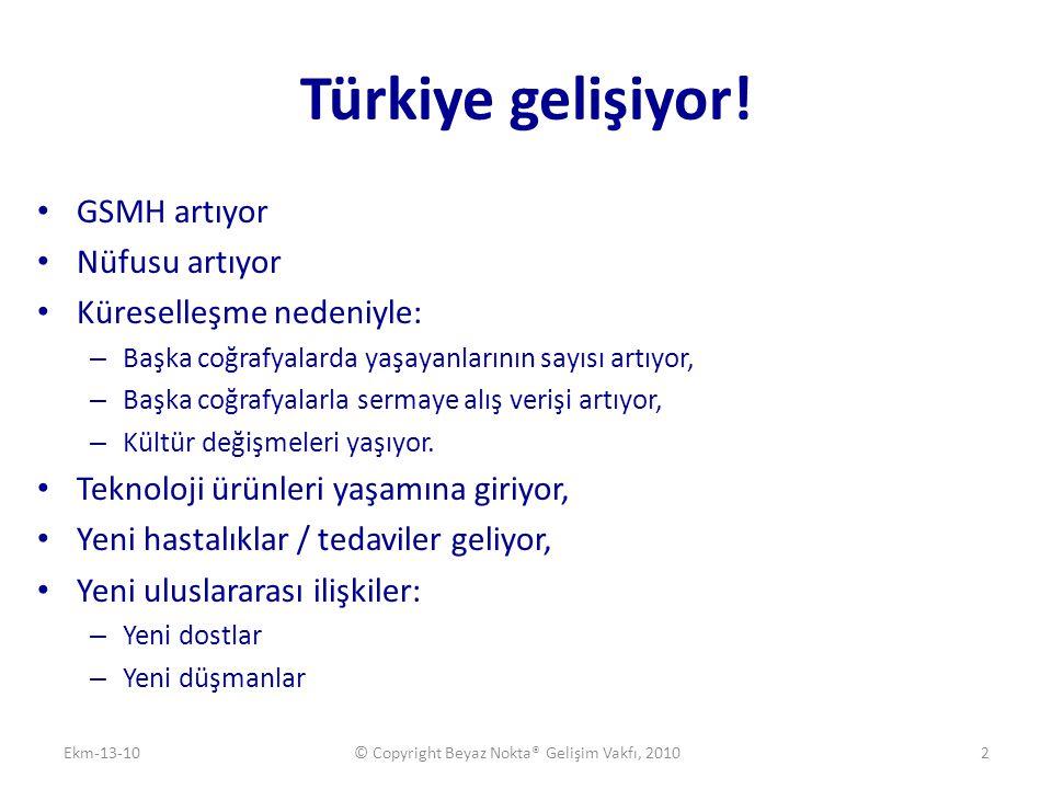 Türkiye gelişiyor! • GSMH artıyor • Nüfusu artıyor • Küreselleşme nedeniyle: – Başka coğrafyalarda yaşayanlarının sayısı artıyor, – Başka coğrafyalarl