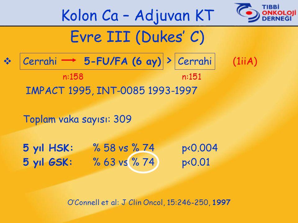 Kolon Ca – Adjuvan KT Evre III (Dukes' C)  Cerrahi 5-FU/FA (6 ay) > Cerrahi (1iiA) n:158n:151 IMPACT 1995, INT-0085 1993-1997 Toplam vaka sayısı: 309