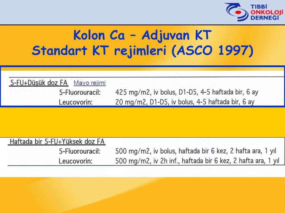 Kolon Ca – Adjuvan KT Standart KT rejimleri (ASCO 1997) Mayo rejimi