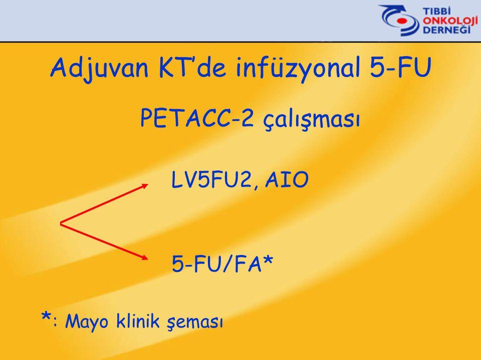Adjuvan KT'de infüzyonal 5-FU PETACC-2 çalışması LV5FU2, AIO 5-FU/FA* * : Mayo klinik şeması