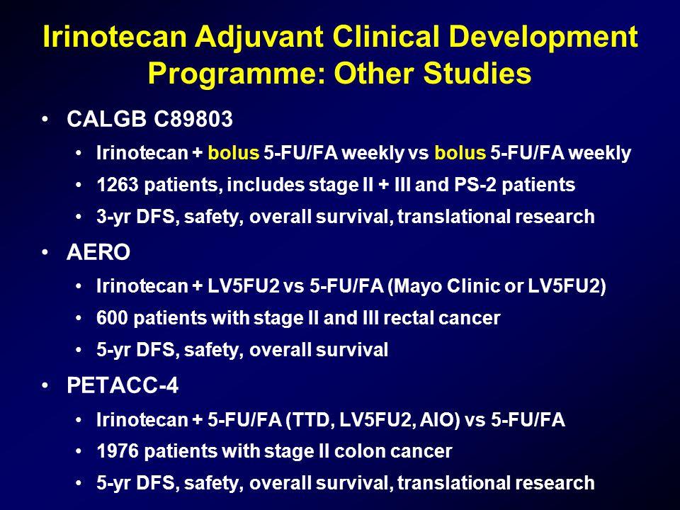 Irinotecan Adjuvant Clinical Development Programme: Other Studies •CALGB C89803 •Irinotecan + bolus 5-FU/FA weekly vs bolus 5-FU/FA weekly •1263 patie