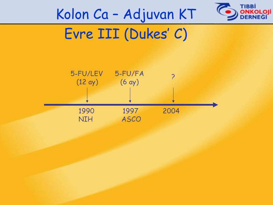 Kolon Ca – Adjuvan KT Evre III (Dukes' C)  Cerrahi 5-FU/Lev (12 ay) > Cerrahi (1iiA) (n:304) (n:315) NCCTG 1989, INT-0035 1990 – 1995 Toplam vaka sayısı: 929 5 yıl HSK:% 45 vs % 63p<0.0001 5 yıl GSK:% 54 vs % 65p<0.007 Moertel CG et al: Ann Intern Med 122:321-326, 1995