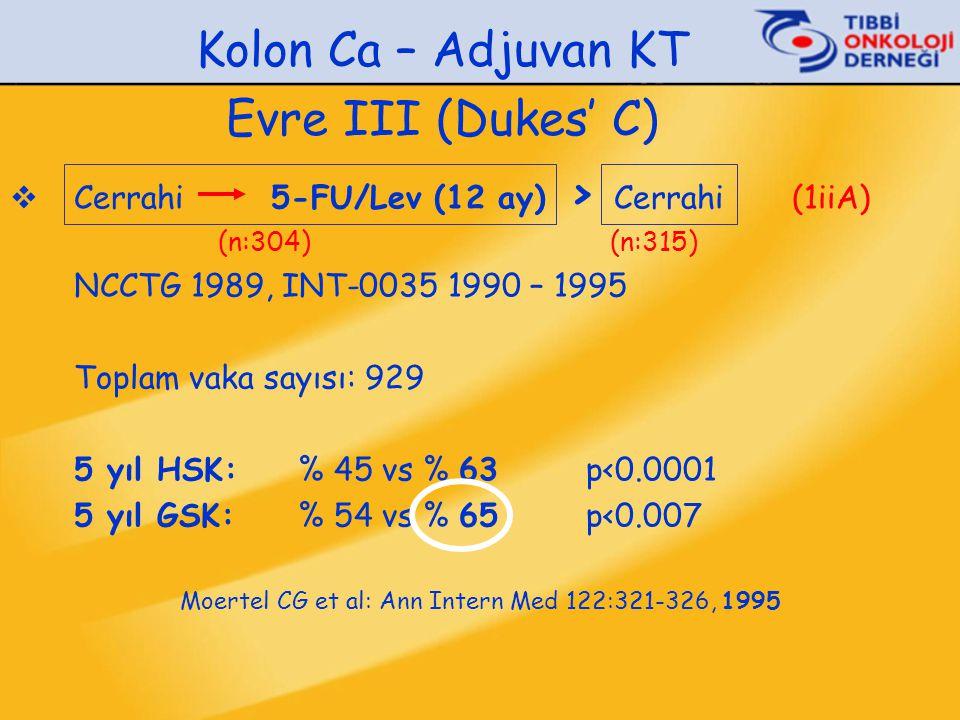 Kolon Ca – Adjuvan KT Evre III (Dukes' C)  Cerrahi 5-FU/Lev (12 ay) > Cerrahi (1iiA) (n:304) (n:315) NCCTG 1989, INT-0035 1990 – 1995 Toplam vaka say