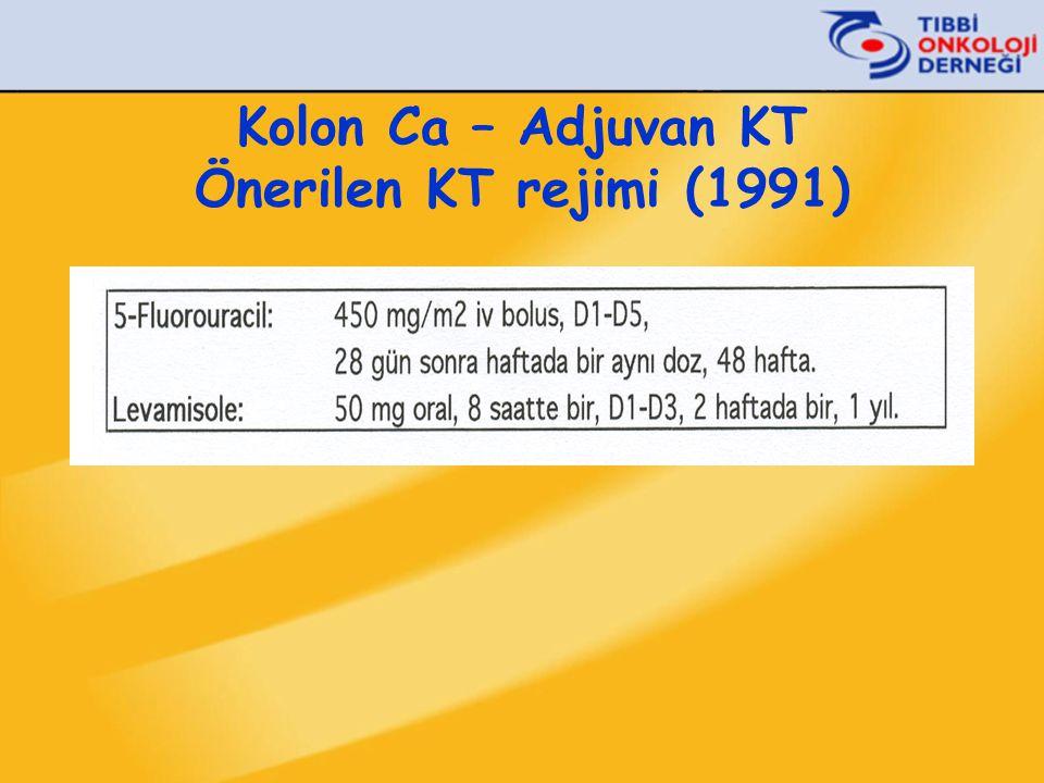 Kolon Ca – Adjuvan KT Evre III (Dukes' C)  Cerrahi 5-FU/FA (6 ay) > Cerrahi (1iiA) n:158n:151 IMPACT 1995, INT-0085 1993-1997 Toplam vaka sayısı: 309 5 yıl HSK:% 58 vs % 74p<0.004 5 yıl GSK:% 63 vs % 74 p<0.01 O'Connell et al: J Clin Oncol, 15:246-250, 1997