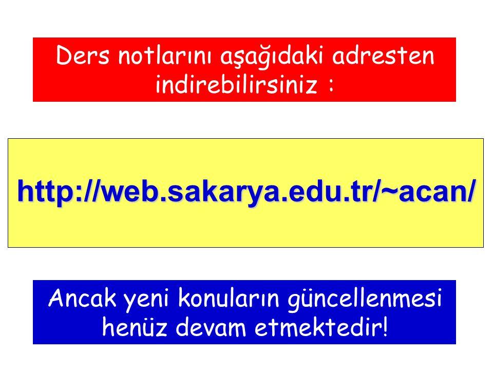 http://web.sakarya.edu.tr/~acan/ Ders notlarını aşağıdaki adresten indirebilirsiniz : Ancak yeni konuların güncellenmesi henüz devam etmektedir!