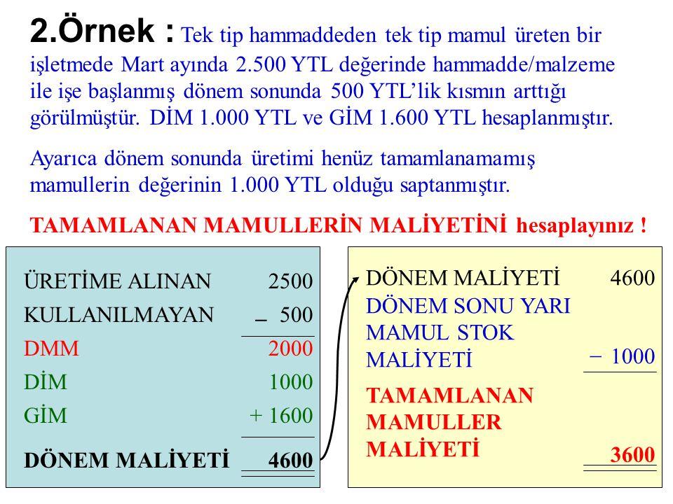2.Örnek : Tek tip hammaddeden tek tip mamul üreten bir işletmede Mart ayında 2.500 YTL değerinde hammadde/malzeme ile işe başlanmış dönem sonunda 500 YTL'lik kısmın arttığı görülmüştür.