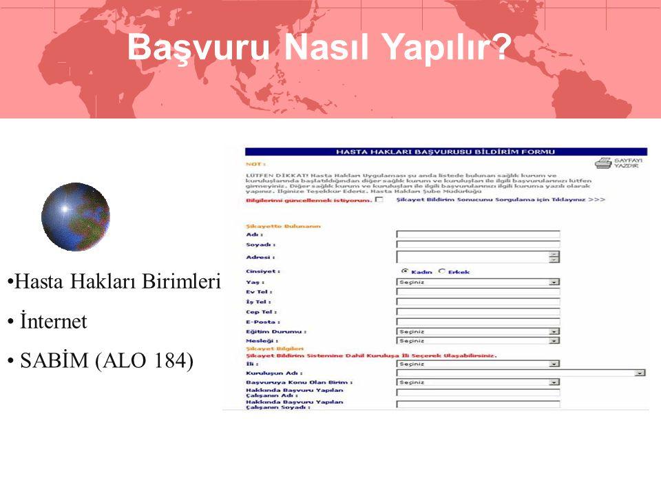 Başvuru Nasıl Yapılır? •Hasta Hakları Birimleri • İnternet • SABİM (ALO 184)