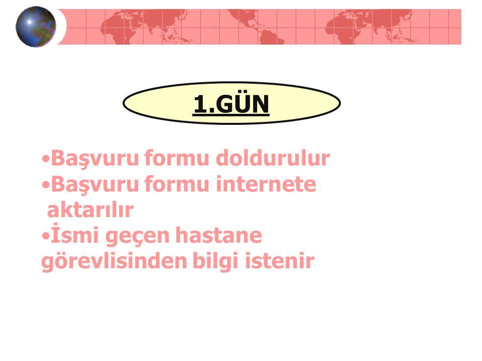 1.GÜN •Başvuru formu doldurulur •Başvuru formu internete aktarılır •İsmi geçen hastane görevlisinden bilgi istenir