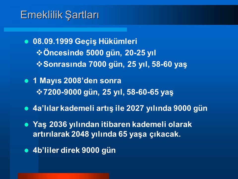 Emeklilik Şartları  08.09.1999 Geçiş Hükümleri  Öncesinde 5000 gün, 20-25 yıl  Sonrasında 7000 gün, 25 yıl, 58-60 yaş  1 Mayıs 2008'den sonra  72