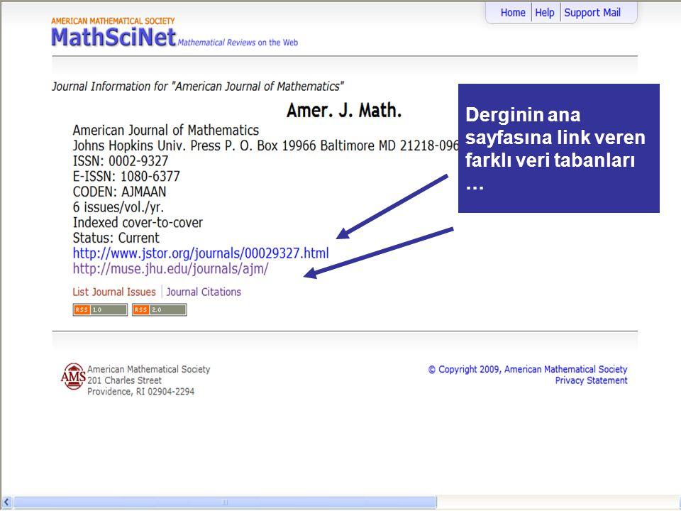 Derginin ana sayfasına link veren farklı veri tabanları …