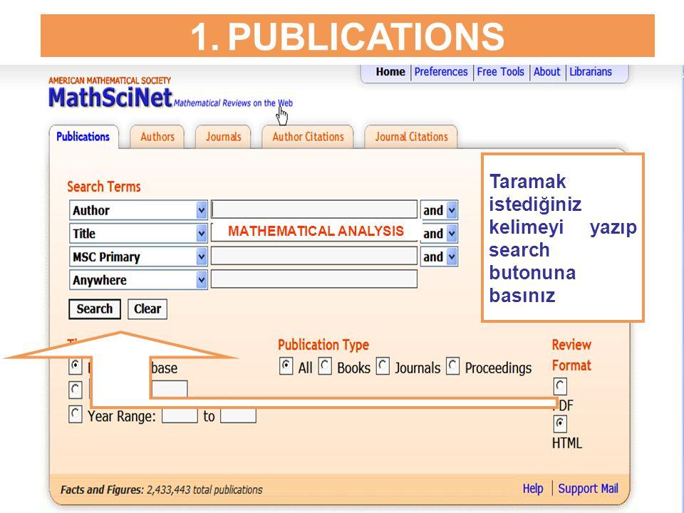 1.PUBLICATIONS PDF linki ile, makalenin künyesi pdf formatında görüntülenir.