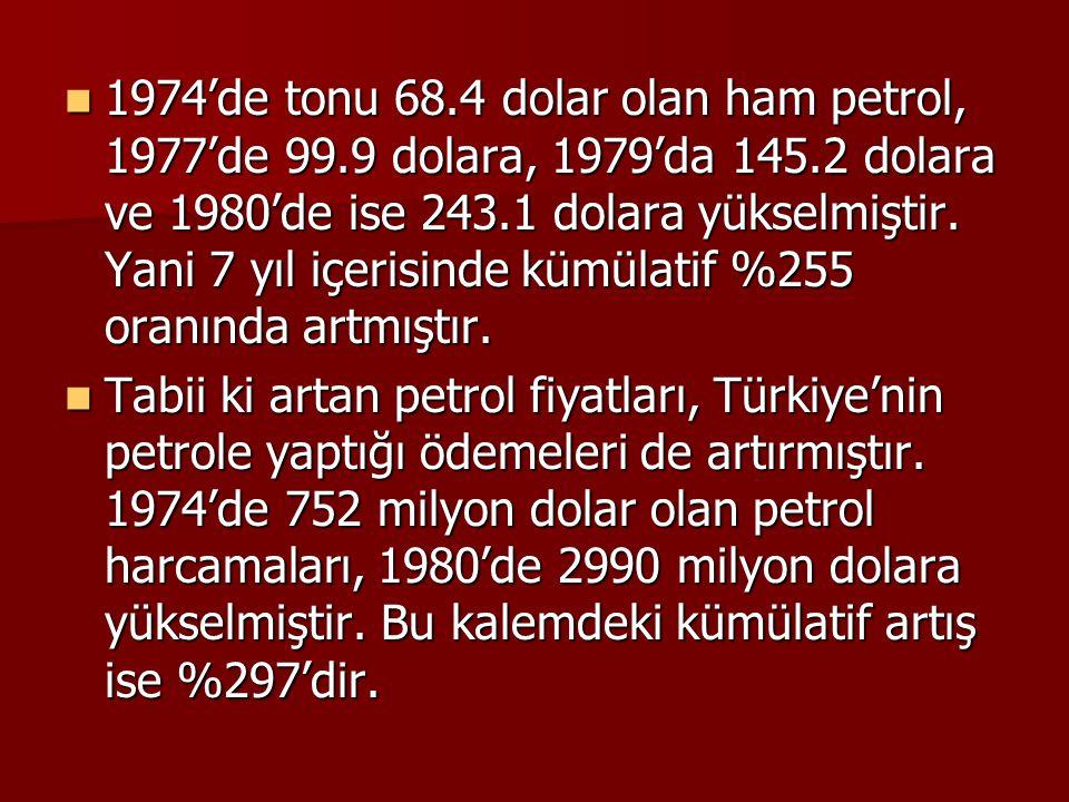  1974'de tonu 68.4 dolar olan ham petrol, 1977'de 99.9 dolara, 1979'da 145.2 dolara ve 1980'de ise 243.1 dolara yükselmiştir. Yani 7 yıl içerisinde k