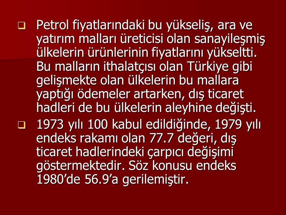  Petrol fiyatlarındaki bu yükseliş, ara ve yatırım malları üreticisi olan sanayileşmiş ülkelerin ürünlerinin fiyatlarını yükseltti. Bu malların ithal