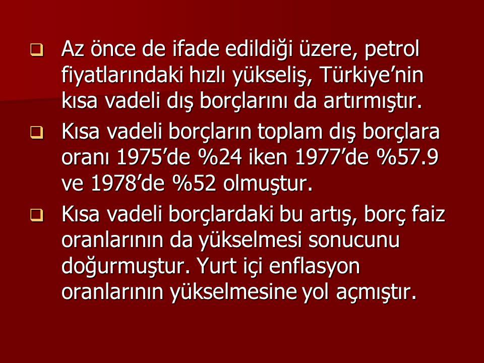  Az önce de ifade edildiği üzere, petrol fiyatlarındaki hızlı yükseliş, Türkiye'nin kısa vadeli dış borçlarını da artırmıştır.  Kısa vadeli borçları