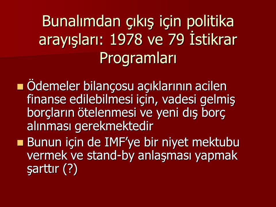 Bunalımdan çıkış için politika arayışları: 1978 ve 79 İstikrar Programları  Ödemeler bilançosu açıklarının acilen finanse edilebilmesi için, vadesi g